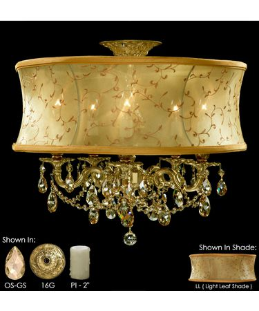 Shown in True Brass finish with Golden Shadow Strass Teardrop crystal, Light Leaf shade and Pale Ivory Wax Candle Cover